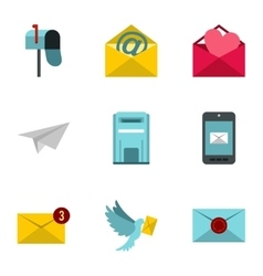 Communication icons set flat style vector