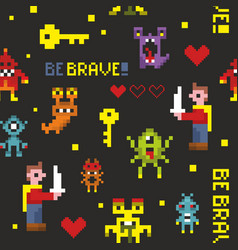 Creative seamless pattern with pixel monsters and vector