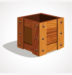 cute cartoon empty wooden box vector image