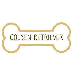 Cute cartoon golden retriever text on collar dog vector