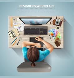 Designer top view vector