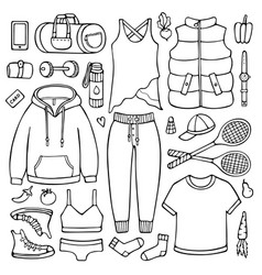 Doodle set of female clothes and items for fitness vector