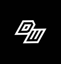 dw logo monogram with up to down style negative vector image