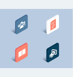 edit document book and people talking icons cash vector image