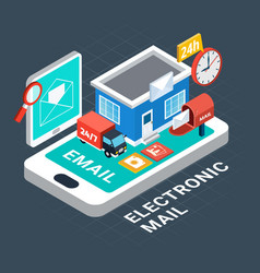 electronic mail isometric composition vector image
