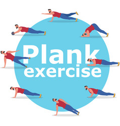 fitness man doing planking exercise banner vector image