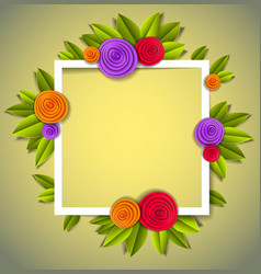 flowers and leaves beautiful background or frame vector image