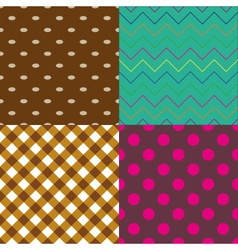 four abstract retro seamless simple pattern eps10 vector image