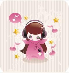 Girl with headphones vector
