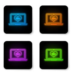 glowing neon laptop computer with 18 plus content vector image