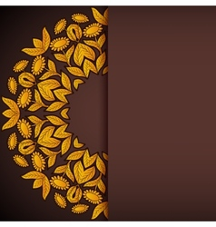 Gold and brown sunflowers round invitation vector image