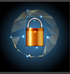 golden key lock and geometric shapes vector image