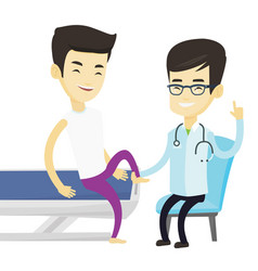 Gym doctor checking ankle of a patient vector