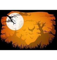 Halloween yellow spooky a4 frame border with moon vector