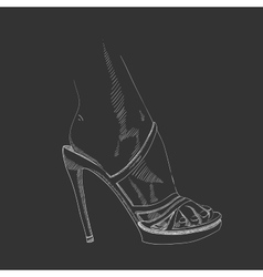hand-drawing female foot vector image