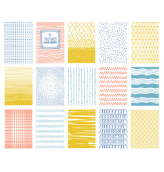 hand drawn colorful square textures with lines vector image
