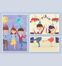 Happy people dancing enjoy celebration party vector