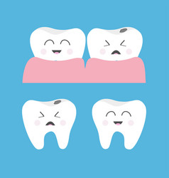 healthy crying bad ill smiling tooth gum icon vector image