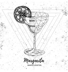 hipster realistic and polygonal cocktail margarita vector image