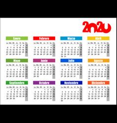 horizontal color pocket calendar on 2020 year vector image