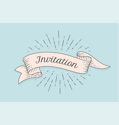 invitation old ribbon banner vector image