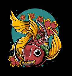 Japanese goldfish with katana in mouth vector