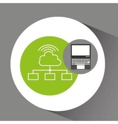 Laptop technology cloud connection wifi vector