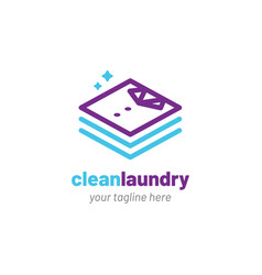 Laundry logo with clean clothes icon vector
