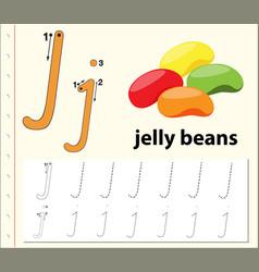 letter j tracing alphabet worksheets vector image