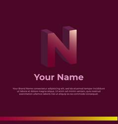 Logotype alphabet 3d logo letter n monogram logo vector