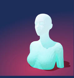 low poly female torso with head vector image