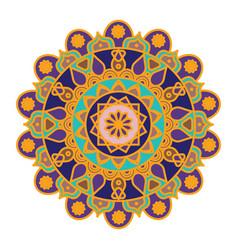 mandala pattern design with golden outline vector image