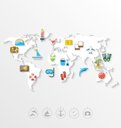Map of World Travel Concept Simple Colorful Flat vector image