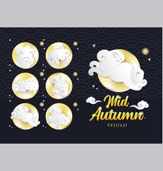 Mid autumn festival design template rabbit in vector