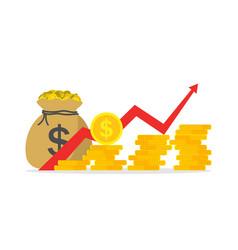 money profit growth chart revenue margin graph vector image