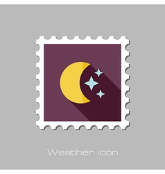 Moon and stars flat stamp Meteorology Weather vector