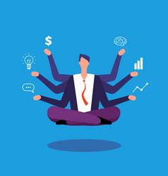 Multitasking businessman manager sitting in yoga vector