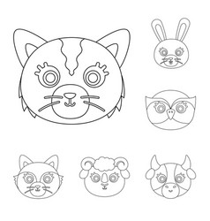 muzzles of animals outline icons in set collection vector image