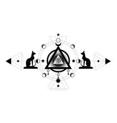 Mystical drawing third eye all-seeing eye vector