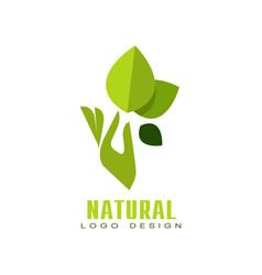 natural logo design healthy premium quality label vector image