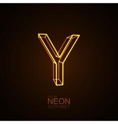 Neon 3D letter Y vector image
