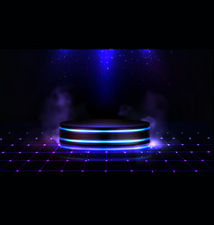 Neon podium with smoke and sparkles empty stage vector