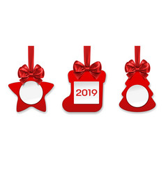 new year and christmas decorations star and sock vector image