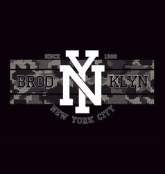 new york brooklyn t-shirt design with knitted vector image