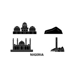Nigeria flat travel skyline set nigeria black vector