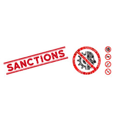 No cyborgs mosaic and scratched sanctions vector