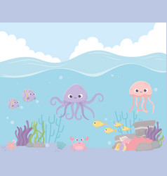 octopus jellyfish fishes crab reef coral under the vector image