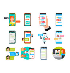 online video messenger chatting on smartphone vector image