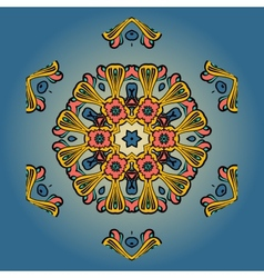 Orange mandala on blue background vector image