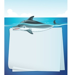 Paper design with dolphin in the sea vector image